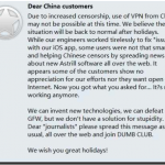 Astrill Blames China Users For Connectivity Problems In China?